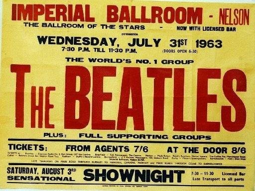 The poster advertising The Beatles playing at the Nelson Imp in 1963