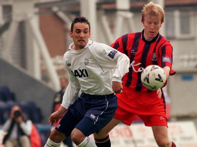 Kurt Nogan in action for North End during the first leg against Gillingham