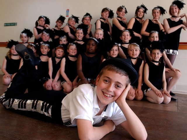 Ben Frew, 10, and fellow dancers from the Carol May School of Dance, taking part in Its Showbiz Time at the Charter Theatre, Preston