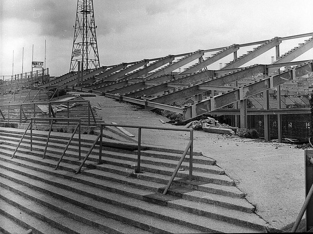 The new terracing at the Beehole End of Turf Moor taking shape, exactly 50 years ago