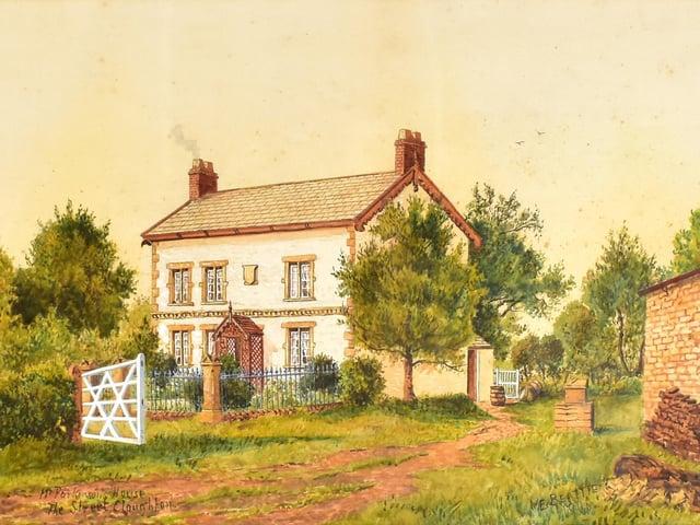 Watercolour by Edwin Beattie:  'Mrs Parkinson's House'