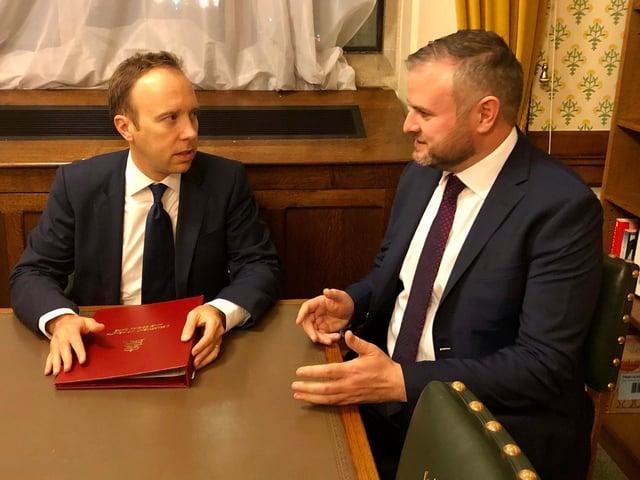 Health Secretary Matt Hancock and Pendle MP Andrew Stephenson