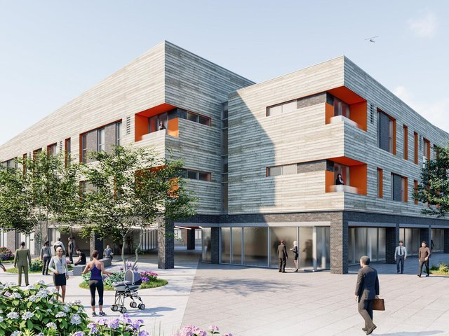 An early stage concept impression of how the new £14m health, well-being and community development could look.