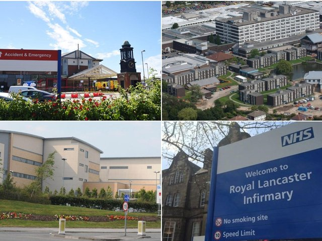 From top left: Blackpool Victoria Hospital, Royal Preston Hospital, Royal Blackburn Hospital, and the Royal Lancaster Infirmary