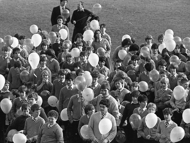 Up, up and away! A cloud of multi-coloured balloons floated into space as a school celebrated its 25th anniversary. And with each of the 825 balloons went the wishes of pupils at Garstang High school. For there is a prize for the balloon which makes the longest journey