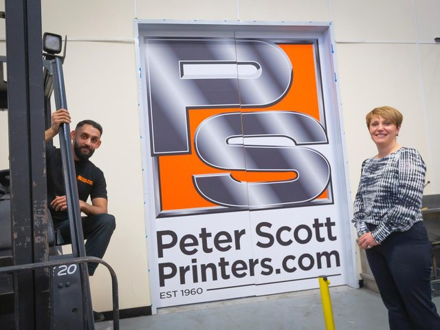 Apprentice Waqas Ahmed with Joanne Hindley, commercial director at Peter Scott Printers