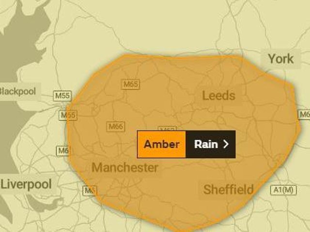 An amber warning of heavy rain for Tuesday and Wednesday