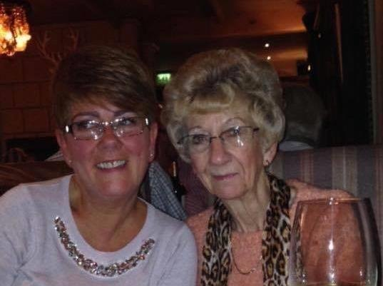Janet Crowther Hindley with her mum Dorothy who died in October