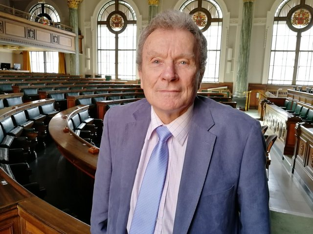 County Cllr Geoff Driver in the chamber at County Hall, where he has been Tory group leader for 13 years and council leader for a total of eight, across two terms of office