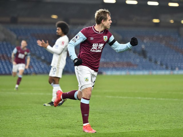 Matej Vydra of Burnley celebrates after scoring their side's first goal during the Premier League match between Burnley and Leicester City at Turf Moor on March 03, 2021 in Burnley, England.