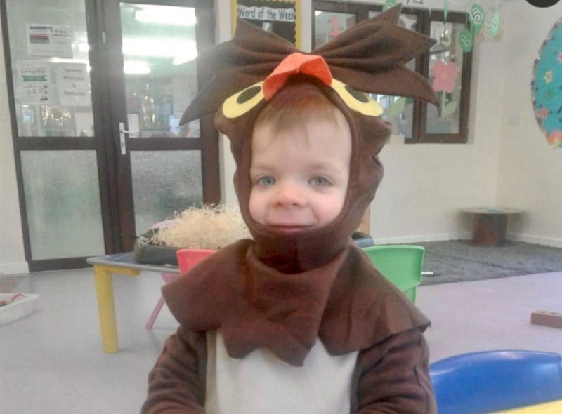 Here is James (two) dressed as an owl