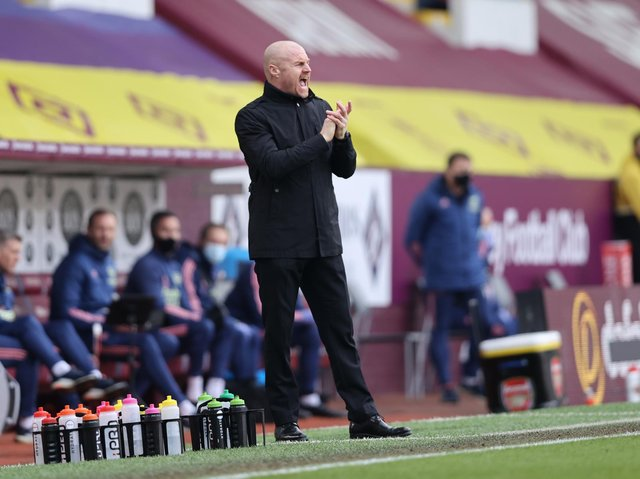 Sean Dyche, Manager of Burnley reacts during the Premier League match between Burnley and Arsenal at Turf Moor on March 06, 2021 in Burnley, England.
