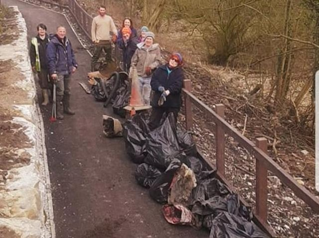 Volunteers who made a massive difference to the area with the litter pick