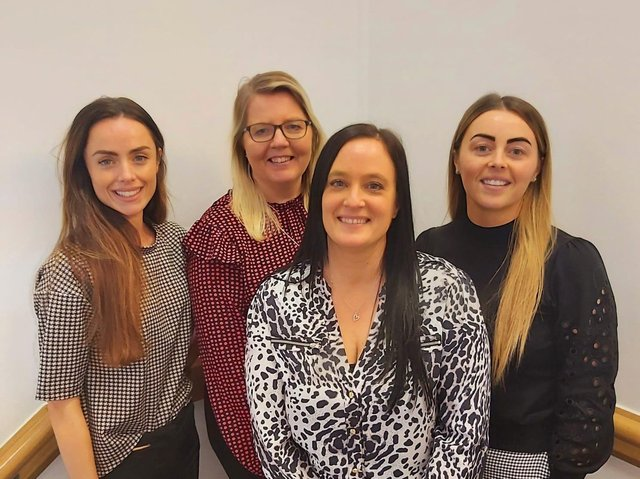 Part of the Alexander Grace Law team at Hapton are (left to right ) Alissa Robinson ( new business manager)  Vicky Bradshaw (new business assistant) Faye Fellows ( legal assistant) and Jasmine Baker (team leader)