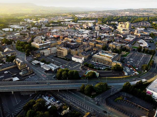 Aerial shot of Burnley