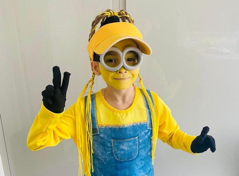 Trixie Lula Forrest was a minion for World Book Day at Padiham Green Primary School.