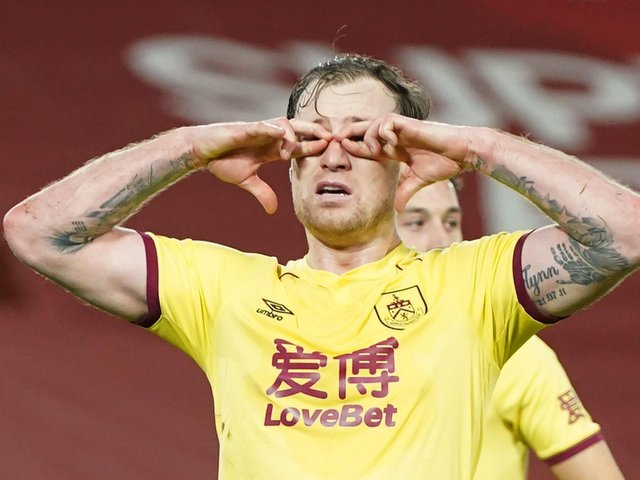 Ashley Barnes celebrates his penalty winner at Anfield