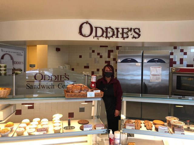 Kelly Davis, counter assistant at Oddie's in Scotland Road, Nelson, with one of the Rosemere Cancer Foundation collection tins the bakery has had on its counter at all branches to enourage customer support for the charity