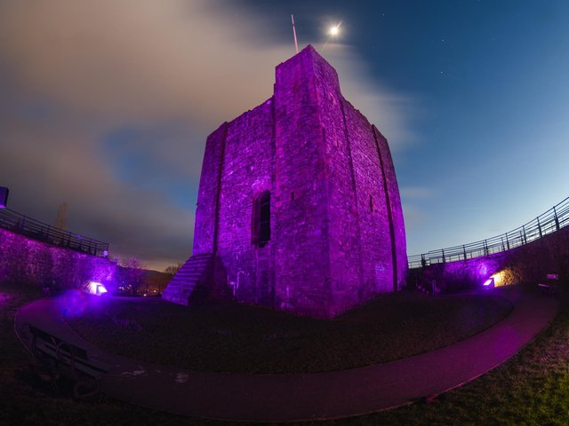 The historic castle looked amazing lit up purple. Picture by Kelvin Stuttard