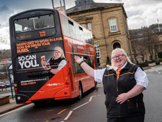 New bus driver Dawn Kenyon at Burnley Bus Station