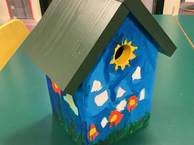 A nest box painted by students at Barrow Primary School