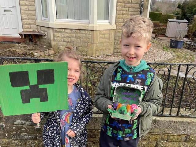 Minecraft mad Noah, pictured with his sister Ava, received an Easter egg treat for being the first entrant in the Burnley Eats Easter egg competition.