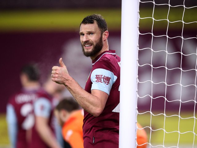 Erik Pieters of Burnley reacts during the FA Cup Third Round match between Burnley and Milton Keynes Dons at Turf Moor on January 09, 2021 in Burnley, England.