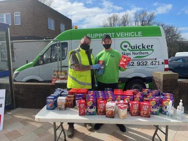 Let the queues begin... Quicker Skips handed out 500 Easter eggs to children in Burnley and Padiham on Good Friday