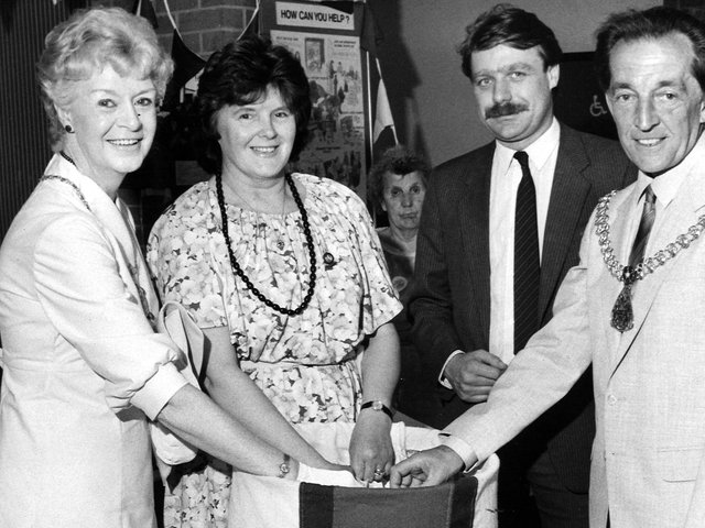 Former Mayoress of Burnley Mrs Ivy Brown (far left) with her husband and Mayor Coun. Fred Brown (right) during their civic year.