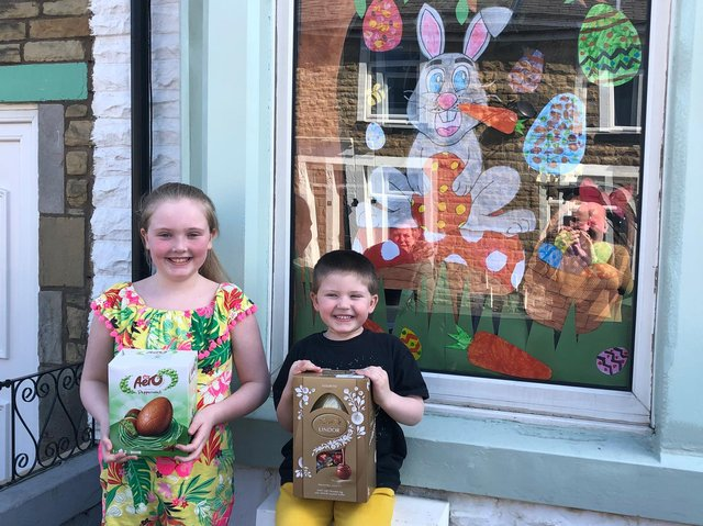 Happy winners of the best decorated Easter themed window