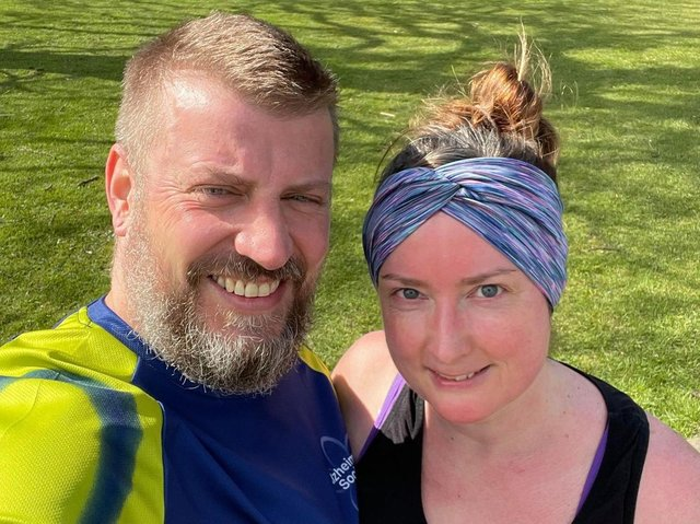 Andy Layfield, who has raised over £2,000 for the Alzheimer's Society in a Lent running challenge, with his partner Bernardine Firminger, who is supporting him by doing a couch to 5k challenge