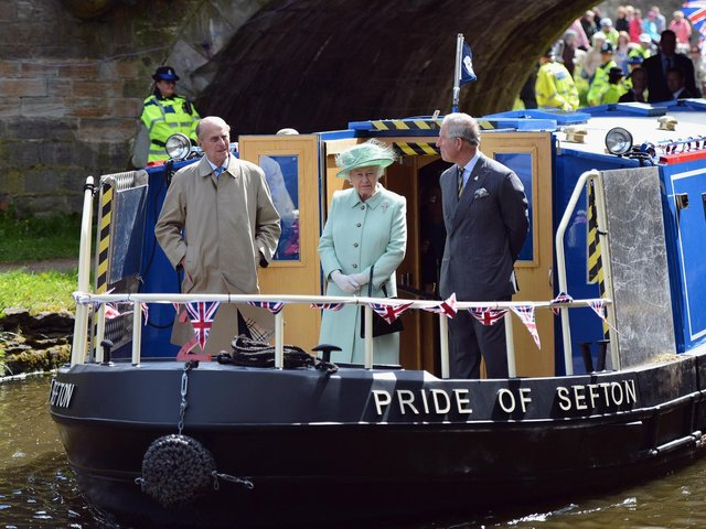 Prince Philip on board the Pride of Sefton on the Leeds and Liverpool Canal in 2012 with Her Majesty the Queen and Prince Charles