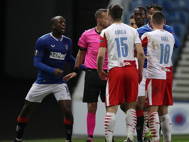 Glen Kamara clashes with Ondrej Kudela of Slavia Prague