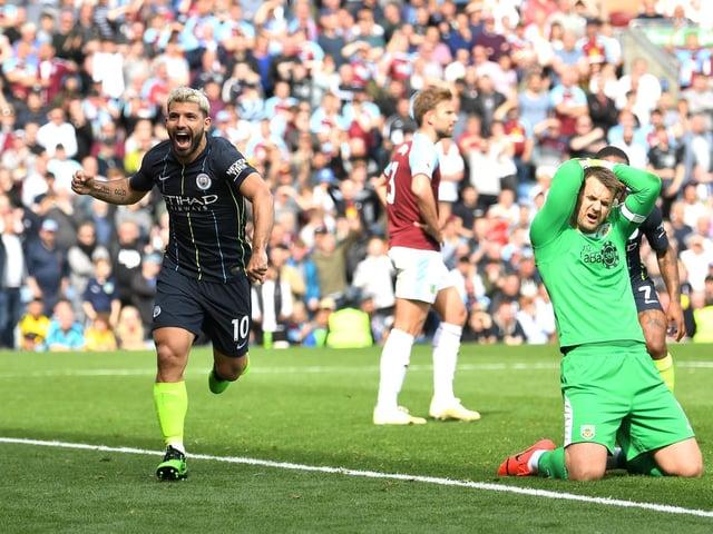 Sergio Aguero celebrates the winner against Burnley in 2019