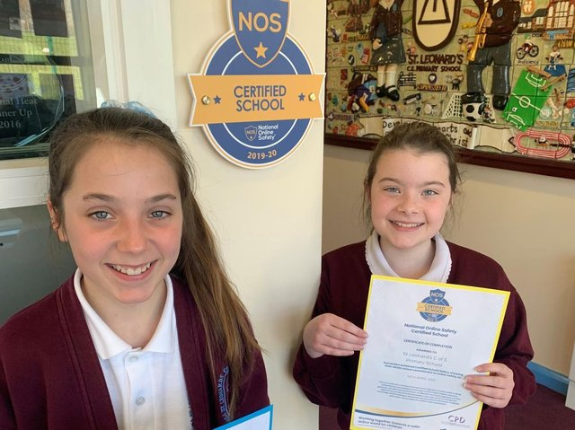 St Leonard's pupils with the certification