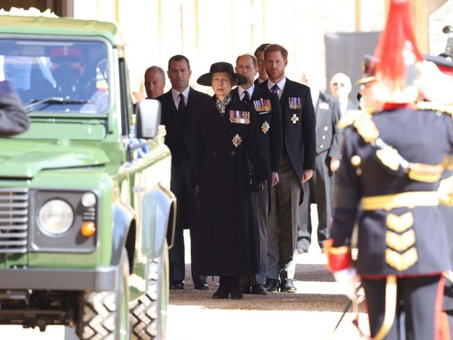The Princess Royal, the Earl of Wessex and Forfar and the Duke of Sussex, and follow the Land Rover Defender carrying the Duke of Edinburgh's coffin during the funeral of the Duke of Edinburgh at Windsor Castle, Berkshire