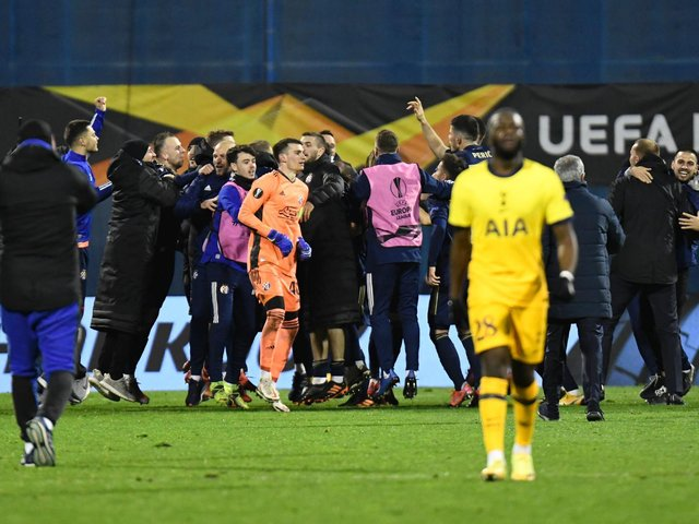 Dynamo Zagreb celebrate knocking Spurs out of the Europa League
