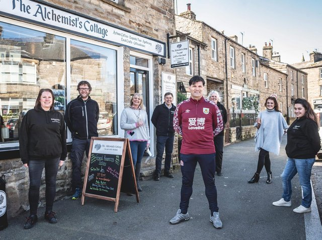 Former Burnley player Andy Payton at the official opening of The Alchemist's Cottage in Hawes with (left) Catherine Eastham McCarthy and her partern Dom McLoughlin and (right) Catherine's daughter Payton   Catherine Eastham McCarthy, her partner Dom McLoughlin,  Rachel Elli and Neil Alderson, who both work in the shop and Catherine's daughter, Payton Eastham