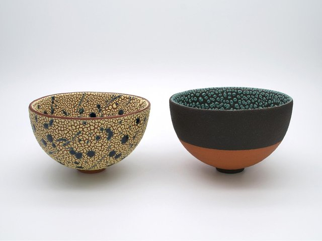 Among the exhibitors is Nottingham ceramicist Emma Williams, whose work features layers of slips and vibrant, tactile glazes on decorative brooches and ceramic bowls.