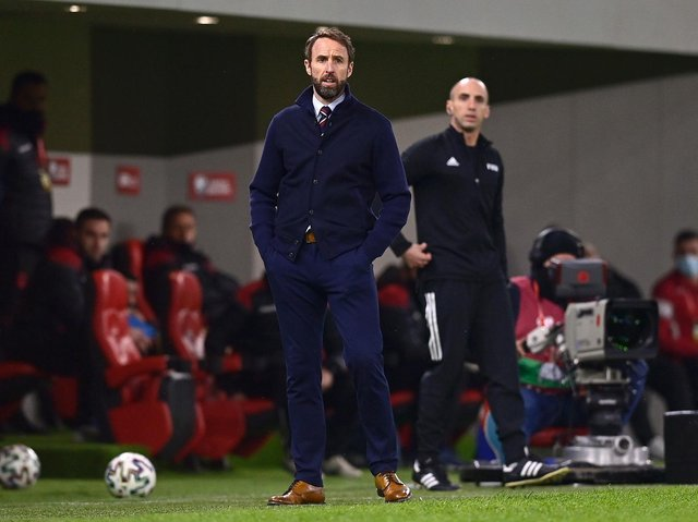 Gareth Southgate, Manager of England looks on during the FIFA World Cup 2022 Qatar qualifying match between Albania and England at the Qemal Stafa Stadium on March 28, 2021 in Tirana, Albania.