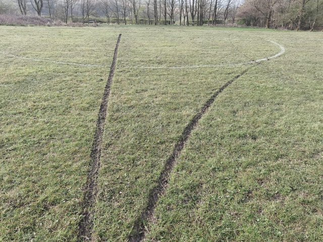 Queen Street recreation ground after motorcyclists churned up the turf
