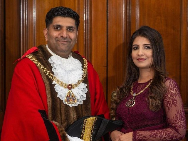 The current serving Mayor and Mayoress of Burnley Coun. Wajid Khan and his wife Anam
