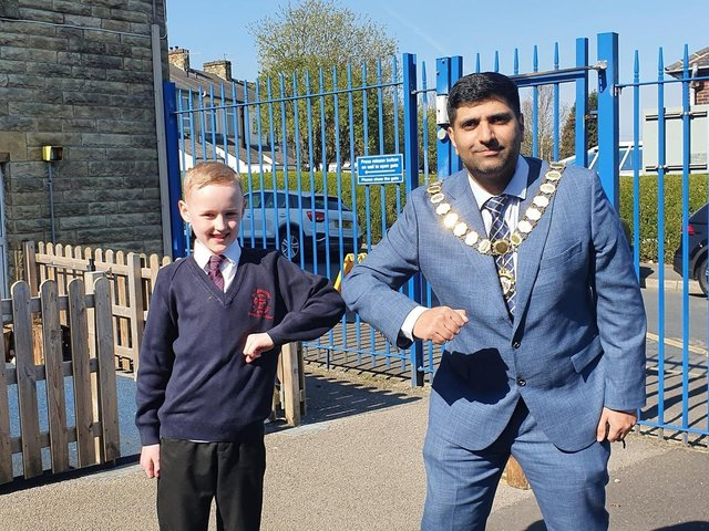 The Mayor of Burnley Coun. Wajid Khan made a special visit to St Augustine's RC Primary School in Burnley this week to thank children for writing letters to cheer the elderly up in the community.