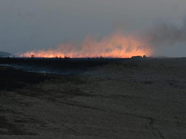 The blaze is in a field just off Crown Point Road. Photo: Kelvin Stuttard