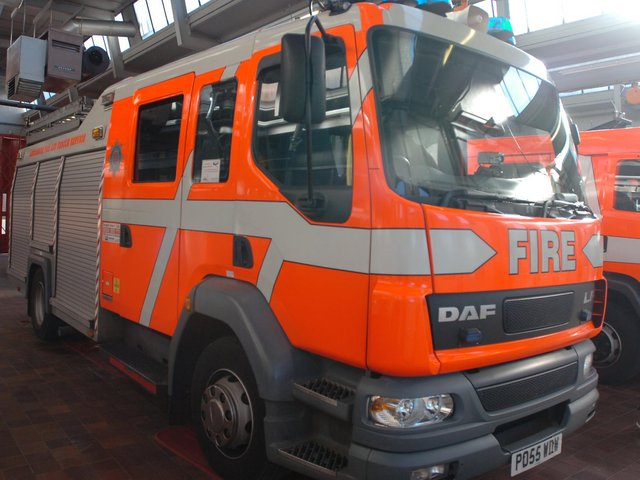 Fire crews assisted two casualties after a vehicle collided with a tree in Colne earlier today