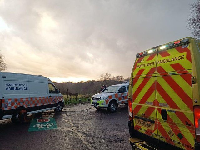 Stock photo of the team and ambulance in action