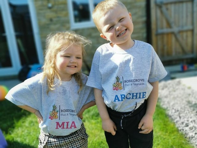 Fruit loving Archie and Mia Gorton are the poster kids for their parents new greengrocers' shop in Burnley