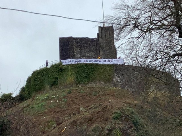 Campaigners displayed the banner on the railings of Clitheroe Castle