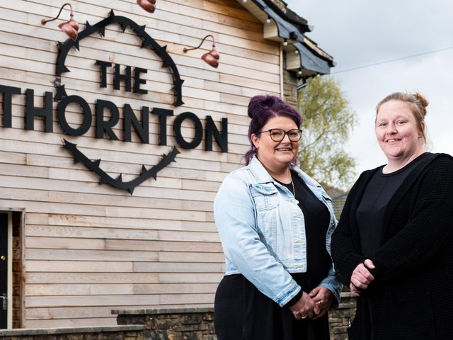 Jaimie Hopwood (right) with her sister Lauren Hopwood at their pub The Thornton Arms where they revealed that despite a fantastic re-opening some customers just refuse to follow the guidelines.