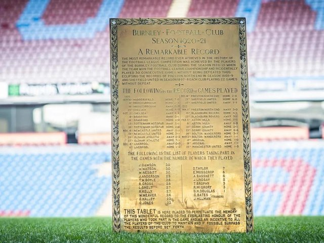 The special plaque to mark Burnleys record breakers